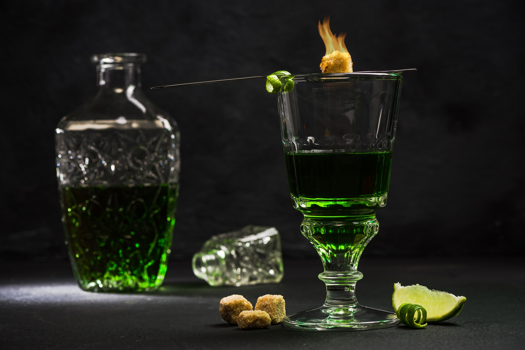 Traditional set for drinking Absinthe
